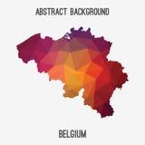 Mappa del Belgio in poligonale geometrico, stile del mosaico Fotografie Stock Libere da Diritti