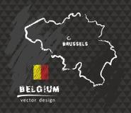 Mappa del Belgio, vettore che attinge lavagna Fotografia Stock Libera da Diritti