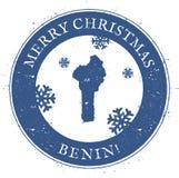 Mappa del Benin Bollo d'annata del Benin di Buon Natale Royalty Illustrazione gratis