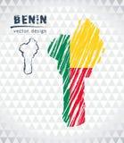 Mappa del Benin con la mappa disegnata a mano della penna di schizzo dentro Illustrazione di vettore Royalty Illustrazione gratis