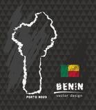 Mappa del Benin, illustrazione di vettore di schizzo del gesso Illustrazione di Stock