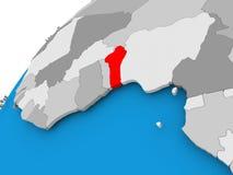 Mappa del Benin nel rosso Immagini Stock