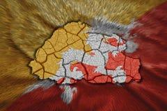 Mappa del Bhutan Immagine Stock Libera da Diritti