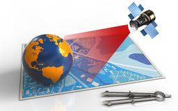 mappa del blu 3d Immagine Stock Libera da Diritti