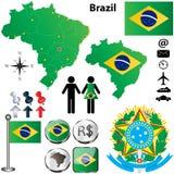 Mappa del Brasile Fotografie Stock