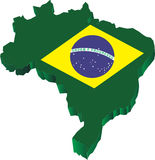 Mappa del Brasile 3d Fotografie Stock