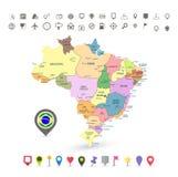 Mappa del Brasile con le icone di navigazione e della bandiera illustrazione di stock