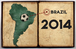 Mappa del Brasile 2014 coppe del Mondo Fotografie Stock Libere da Diritti
