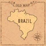 Mappa del Brasile di vecchio stile illustrazione di stock