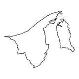 Mappa del Brunei dell'illustrazione nera di vettore di curvatura di contorno royalty illustrazione gratis