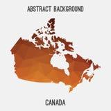 Mappa del Canada in poligonale geometrico, stile del mosaico Fotografie Stock