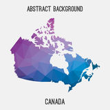 Mappa del Canada in poligonale geometrico, stile del mosaico Fotografie Stock Libere da Diritti