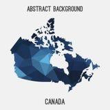 Mappa del Canada in poligonale geometrico, stile del mosaico Immagini Stock Libere da Diritti