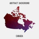 Mappa del Canada in poligonale geometrico, stile del mosaico Immagini Stock