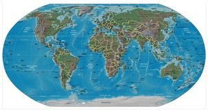 Mappa del dettaglio del mondo Fotografia Stock Libera da Diritti