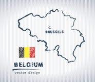 Mappa del disegno di gesso di vettore del Belgio isolata su un fondo bianco Fotografia Stock Libera da Diritti