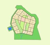 Mappa del distretto Fotografia Stock Libera da Diritti