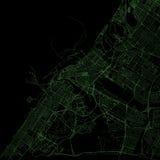Mappa del Dubai, vista satellite, Emirati Arabi Uniti Fotografia Stock