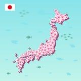 Mappa del Giappone con sakura rosa, fiore di fioritura, illustrazione di vettore Fotografie Stock Libere da Diritti
