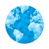 Mappa del globo - illustrazione geometrica astratta di vettore nei colori blu Illustrazione poligonale del globo Immagini Stock