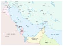 Mappa del golfo persico e dei suoi paesi limitrofi illustrazione vettoriale