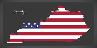 Mappa del Kentucky con l'illustrazione americana della bandiera nazionale Fotografie Stock Libere da Diritti