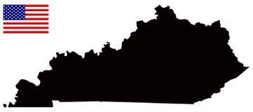 Mappa del Kentucky con la bandiera di U.S.A. - regione centromeridionale orientale degli Stati Uniti Immagine Stock Libera da Diritti
