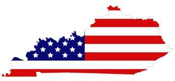 Mappa del Kentucky con la bandiera di U.S.A. - regione centromeridionale orientale degli Stati Uniti Fotografia Stock Libera da Diritti