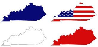 Mappa del Kentucky con la bandiera di U.S.A. - regione centromeridionale orientale degli Stati Uniti Immagini Stock