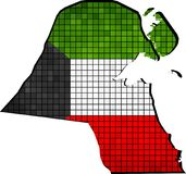 Mappa del Kuwait con la bandiera dentro Fotografie Stock