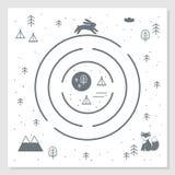 Mappa del labirinto di avventura della strada, delle montagne e di legni Stile scandinavo Art Nursery Monochrome Print Disegno di illustrazione di stock