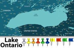 Mappa del lago Ontario fotografie stock libere da diritti