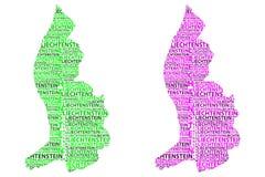 Mappa del Liechtenstein - illustrazione di vettore Fotografia Stock