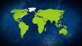 Mappa del mondo nell'oceano Fotografia Stock Libera da Diritti