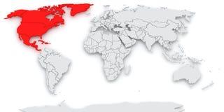 Mappa del mondo. Nord America. Fotografia Stock