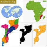 Mappa del Mozambico Fotografia Stock