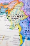 Mappa del Myanmar o Birmania fotografie stock