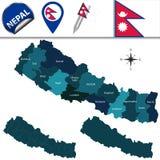 Mappa del Nepal con le zone royalty illustrazione gratis