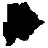 Mappa del nero del Botswana su fondo bianco Fotografia Stock