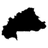Mappa del nero del Burkina Faso su fondo bianco Fotografia Stock Libera da Diritti