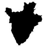 Mappa del nero del Burundi su fondo bianco Immagine Stock