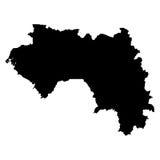 Mappa del nero della Guinea su fondo bianco Fotografie Stock Libere da Diritti