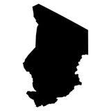 Mappa del nero della Repubblica del Chad su fondo bianco Immagini Stock Libere da Diritti