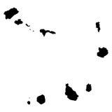 Mappa del nero di Capo Verde su fondo bianco Fotografia Stock
