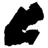 Mappa del nero di Gibuti su fondo bianco Fotografia Stock Libera da Diritti