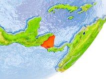 Mappa del Nicaragua su terra Fotografia Stock