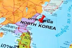 Mappa del Nord Corea Fotografia Stock Libera da Diritti