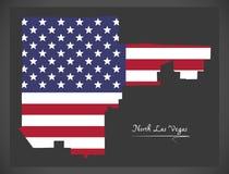 Mappa del nord di Las Vegas Nevada City con l'illustrazione americana della bandiera nazionale illustrazione di stock