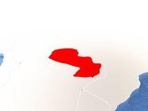 Mappa del Paraguay sul globo Fotografie Stock Libere da Diritti