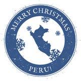 Mappa del Perù Buon Natale d'annata Peru Stamp Fotografie Stock Libere da Diritti